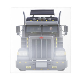 Black Semi Truck with Lights On in Front View Notepad