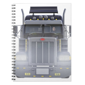 Black Semi Truck with Lights On in Front View Spiral Notebook