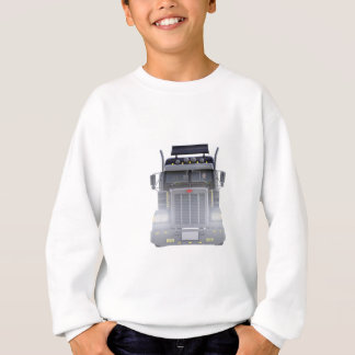 Black Semi Truck with Lights On in Front View Sweatshirt