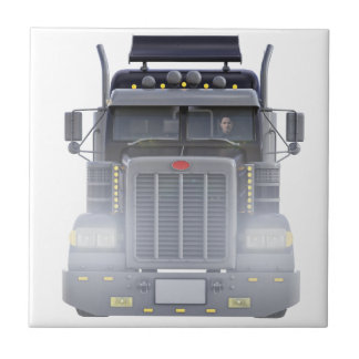 Black Semi Truck with Lights On in Front View Tile