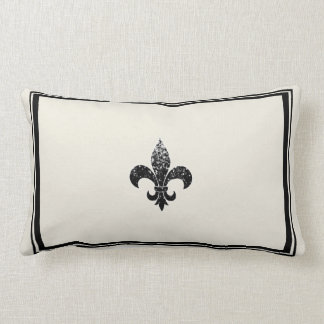 Black Sequined Fleur De Lis Design Lumbar Pillow