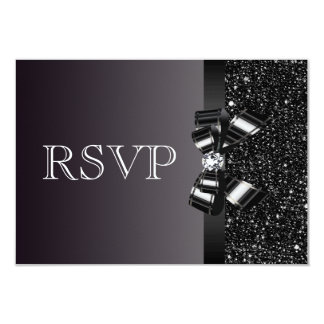 "Black Sequins, Bow & Diamond RSVP Wedding 3.5"" X 5"" Invitation Card"