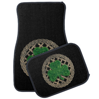 Black Shamrock On Celtic Knots Car Mats