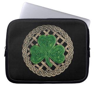 Black Shamrock On Celtic Knots Laptop Sleeve