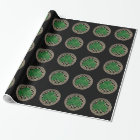 Black Shamrock On Celtic Knots Wrapping Paper