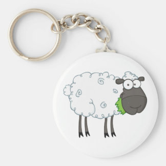 Black Sheep Cartoon Character Basic Round Button Keychain
