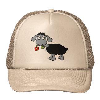 Black Sheep Cute Lamb Red Yellow Flower Trucker Hat