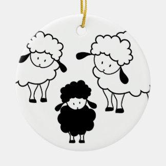 Black sheep family ceramic ornament