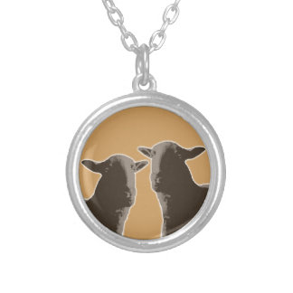 Black Sheep gear in sepia Silver Plated Necklace