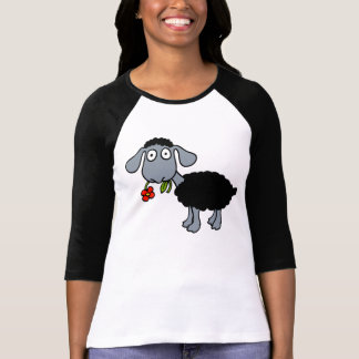 Black Sheep Lamb with Red Flower Grey White T-Shirt