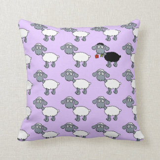 Black Sheep Lamb with Red Flower in White Flock Throw Pillow