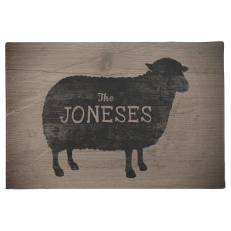 Black Sheep Silhouette Personalized Doormat