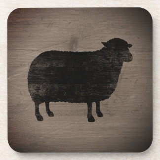 Black Sheep Silhouette Rustic Style Coaster