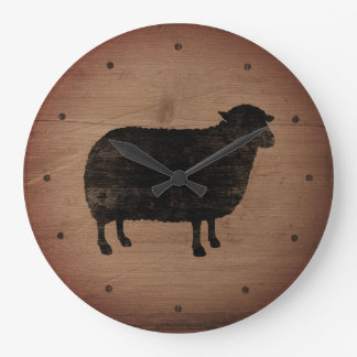 Black Sheep Silhouette Rustic Style Large Clock