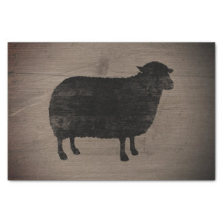 Black Sheep Silhouette Rustic Style Tissue Paper
