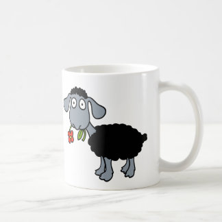 Black Sheep Two Cute Lambs with Red Flowers Coffee Mug