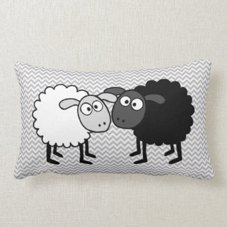 "Black Sheep White Sheep  Lumbar Pillow 13"" x 21"""