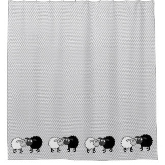 Black Sheep White Sheep Shower Curtain