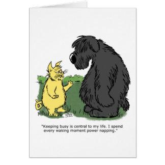 Black sheepdog Julius cat Card