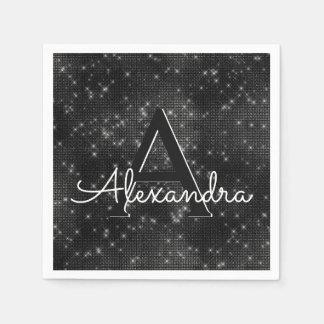 Black Shimmer & Sparkle Monogram Birthday Paper Napkin