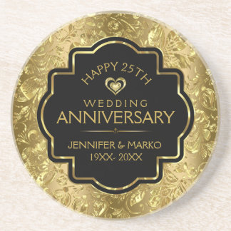 Black & Shiny Gold 50th Wedding Anniversary Coaster