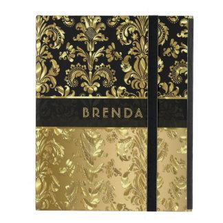 Black & Shiny Gold Floral Damasks 3 iPad Folio Case