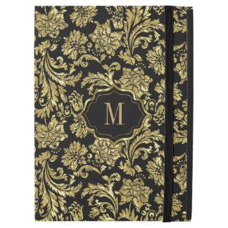 "Black & Shiny Gold Vintage Floral Damasks Pattern iPad Pro 12.9"" Case"