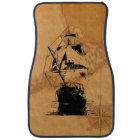 Black Ship Silhouette Car Mat