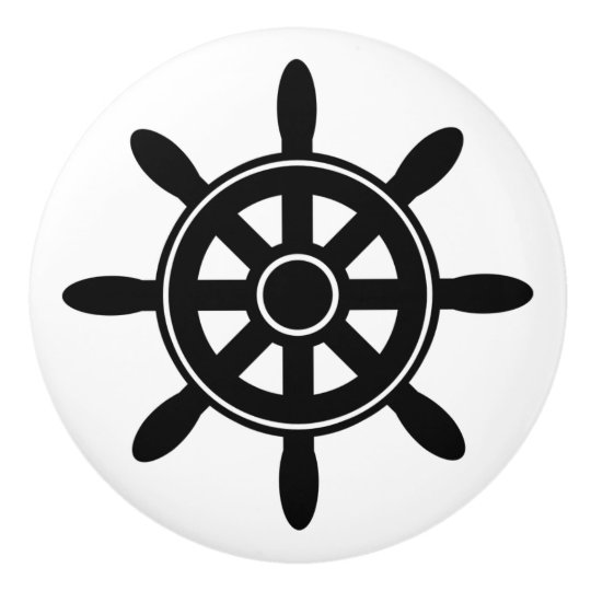 Black Ship Wheel  Nautical Themed Cabinet Knob Ceramic Knob