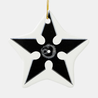 Black Shuriken with Silver Dragon Ceramic Star Ornament