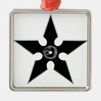 Black Shuriken with Silver Dragon Silver-Colored Square Ornament