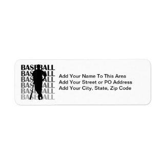 Black Silhouette Baseball Player T-shirts and Gift Return Address Label