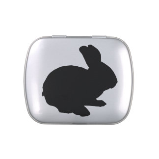 Black Silhouette Easter Bunny Candy Tin