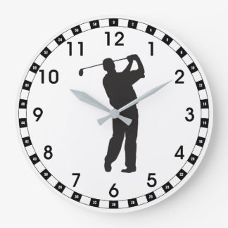Black Silhouette Golfer Large Clock
