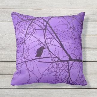 Black Silhouette of Crow Tree Branches Purple Sky Throw Pillow