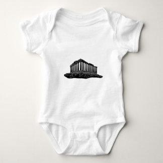Black silhouette of Parthenon Baby Bodysuit