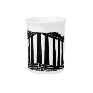 Black silhouette of Parthenon Beverage Pitcher