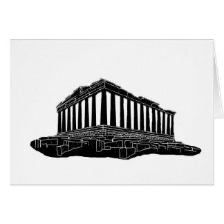 Black silhouette of Parthenon Card
