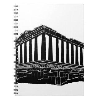 Black silhouette of Parthenon Note Book