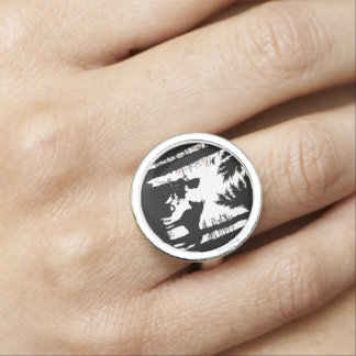 Black Silhouette Red Riding Hood Wolf Woods Photo Ring
