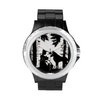 Black Silhouette Red Riding Hood Wolf Woods Wristwatch