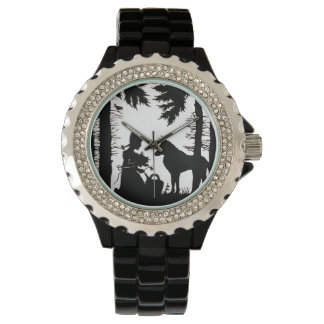 Black Silhouette Red Riding Hood Wolf Woods Wrist Watches