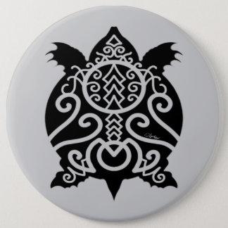 Black Silhouette Snapper Turtle 6 Inch Round Button