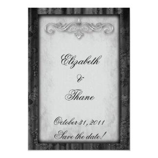 Black Silk and Parchment Goth Wedding Card