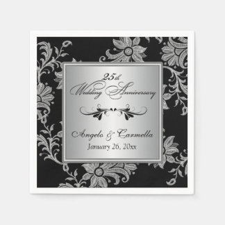 Black, Silver 25th Wedding Anniversary Napkins Paper Napkin