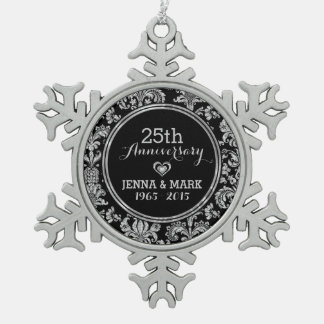 Black & Silver 25th Wedding Anniversary Ornament 5 Ornament