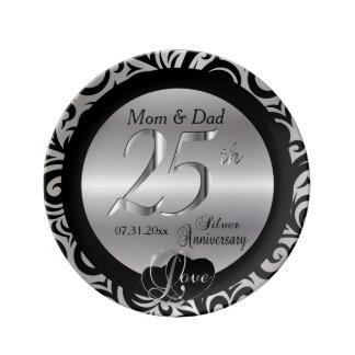 Black & Silver 25th Wedding Anniversary Plate