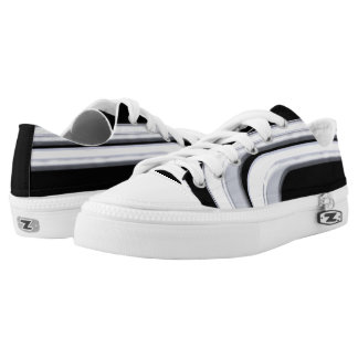 Black Silver and White Sojourn Low-Top Sneakers