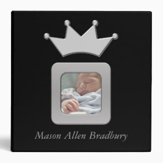 Black & Silver Baby Boy Prince Crown Photo Album 3 Ring Binder