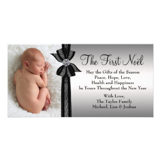 Black Silver Baby's First Christmas Photo Card